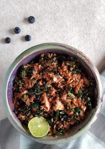 Red Rice, Salmon, & Blueberry Salad {gluten-free} | When you need something more substantial than a lettuce salad, reach for the vibrant, flavonoid-rich goodness of ancient grains like WFN's Red Rice. Paired with salmon, blueberries, and kale, this simple and lightly dressed Red Rice, Salmon, and Blueberry Salad is an easy and refreshing healthy meal option. | WildernessFamilyNaturals.com