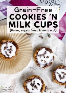 Grain-Free Cookies 'n Milk Cups {Paleo, sugar-free, low-carb!} | Got a craving for cookies and milk? Get the fun deliciousness of a grain-free, gluten-free cookie dipped in dairy-free milk in every bite with these cookies 'n milk cups! They're a perfect snack, dessert, or party food -- and they're allergy-friendly, too!