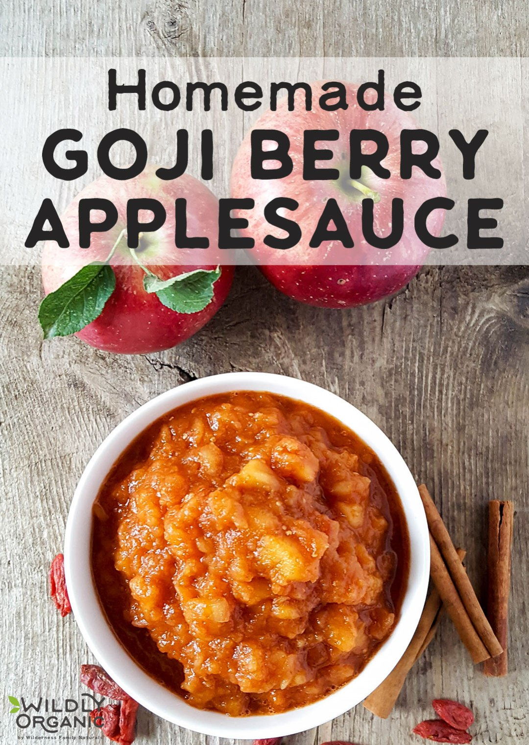 Homemade Goji Berry Applesauce | Whether picky ones don't care for goji berries, or you're simply wanting to add some superfood power to this Fall's apple harvest, try this easy Homemade Goji Berry Applesauce. Using an electric pressure cooker (like the Instant Pot) saves so much time! | WildlyOrganic.com