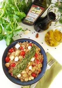 Caprese Quinoa Power Bowl with Basil Pesto {gluten-free with dairy-free option}
