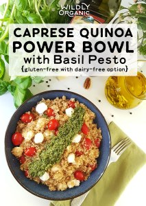 Caprese Quinoa Power Bowl with Basil Pesto – This Caprese Quinoa Power Bowl takes your favorite summer flavors and combines them with heart healthy olive oil plus protein and nutrient-packed quinoa. #quinoa #glutenfree #dairyfree #easyrecipes #easyrecipe #vegetarian #vegetarianrecipes