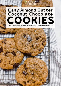 Easy Almond Butter Coconut Chocolate Cookies {gluten-free, paleo, dairy-free, no refined sugar}