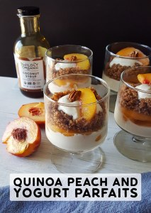 Quinoa Peach and Yogurt Parfaits   Paired with nutritious quinoa in these peachy quinoa and yogurt parfaits you have a perfect packable treat for your child's lunch. #glutenfree #breakfastrecipes #breakfast #brunch #lunch #mealprep #realfood