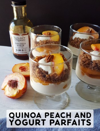 Quinoa Peach and Yogurt Parfaits | Paired with nutritious quinoa in these peachy quinoa and yogurt parfaits you have a perfect packable treat for your child's lunch. #glutenfree #breakfastrecipes #breakfast #brunch #lunch #mealprep #realfood