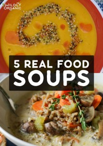 Photo of two different real food soups.   5 Real Food Soups   When the weather gets cooler, dig right in to a comforting bowl of soup that is nutritious, too. We have you covered with these 5 Real Food Soup Recipes! #realfood #soup #allergyfriendly #dinnerrecipes #dinner #easyrecipes #fallfood