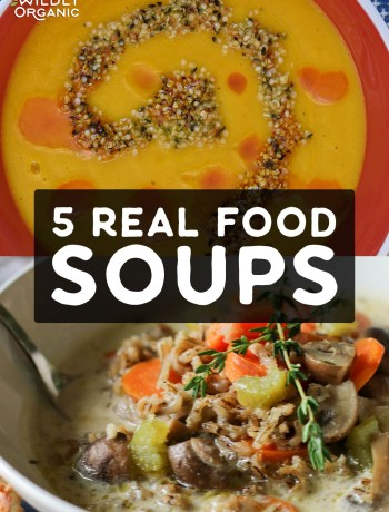 Photo of two different real food soups. | 5 Real Food Soups | When the weather gets cooler, dig right in to a comforting bowl of soup that is nutritious, too. We have you covered with these 5 Real Food Soup Recipes! #realfood #soup #allergyfriendly #dinnerrecipes #dinner #easyrecipes #fallfood