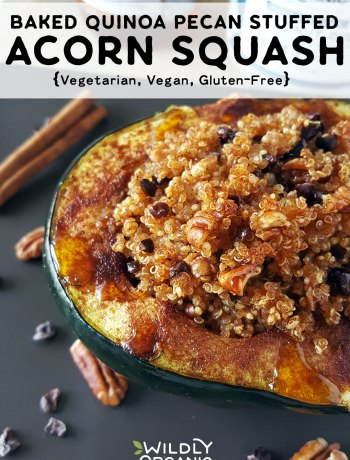 Baked Quinoa Pecan Stuffed Acorn Squash | This beautiful stuffed quinoa pecan acorn squash recipe makes a perfectly healthy and delicious treat for vegans, vegetarians, and it's gluten-free. Organic quinoa, fall spices, coconut syrup, pecans, and dark cacao nibs are all nestled in beautiful orange-fleshed acorn squash makes for a nourishing vegetarian dish. #veganrecipes #vegetarianrecipes #squash #fallfood #easyrecipes #glutenfree #allergyfriendly