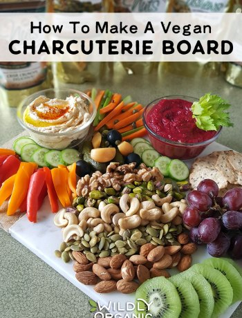 Photo of sliced veggies, nuts, dips, crackers, fruit, and more on a marble cutting board.   Charcuterie boards are fantastic for parties, movie night, and snacky weekend afternoons. They are also typically made with meats and cheeses. Why let the meat eaters have all the fun? I'll show you how to make a vegan charcuterie board that is beautiful, healthy, and will be sure to wow your family and friends!