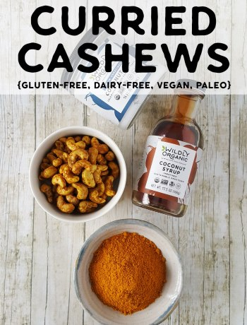 Photo of curried cashews, bowl of curry spices, coconut syrup, and coconut oil