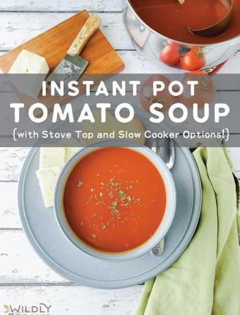 A photo of a bowl of Instant Pot tomato soup with a side of bread and cheese.