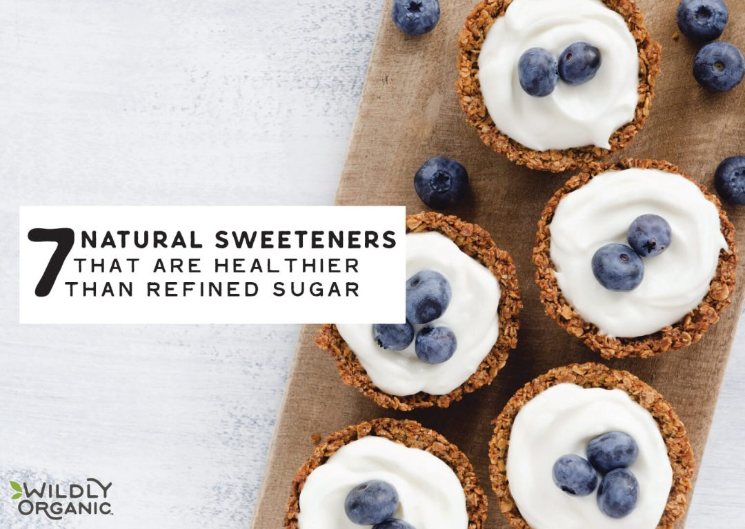 7 Natural Sweeteners That Are Healthier Than Refined Sugar | Sugar is sugar, right? Nope. Here are 6 amazing natural sweeteners refined sugar out of the water. These sweeteners are less processed, more sustainably produced (no pesticides or GMOs!), organic, and healthier since they contain trace levels of minerals. | WildernessFamilyNaturals.com
