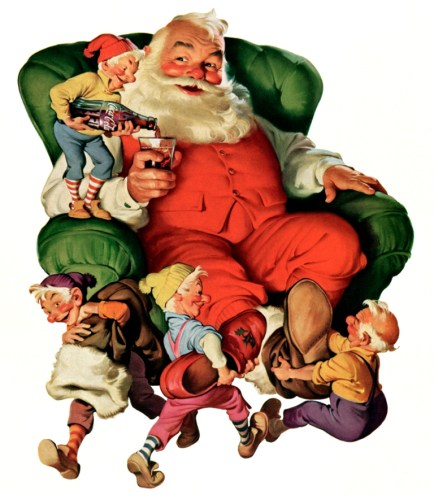 1931 Santa in chairwith elves dressing him blog