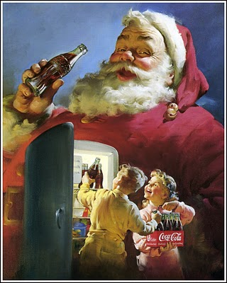 1950 Santa with frig and boy and girl