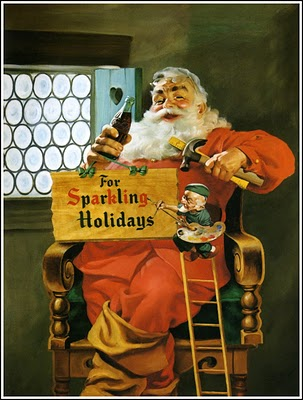 1956 Santa with elf painting sign for sparkling holidays