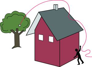 If there is not an anchor on the rooftop, use something on the ground and work on the opposite side, like a tree.