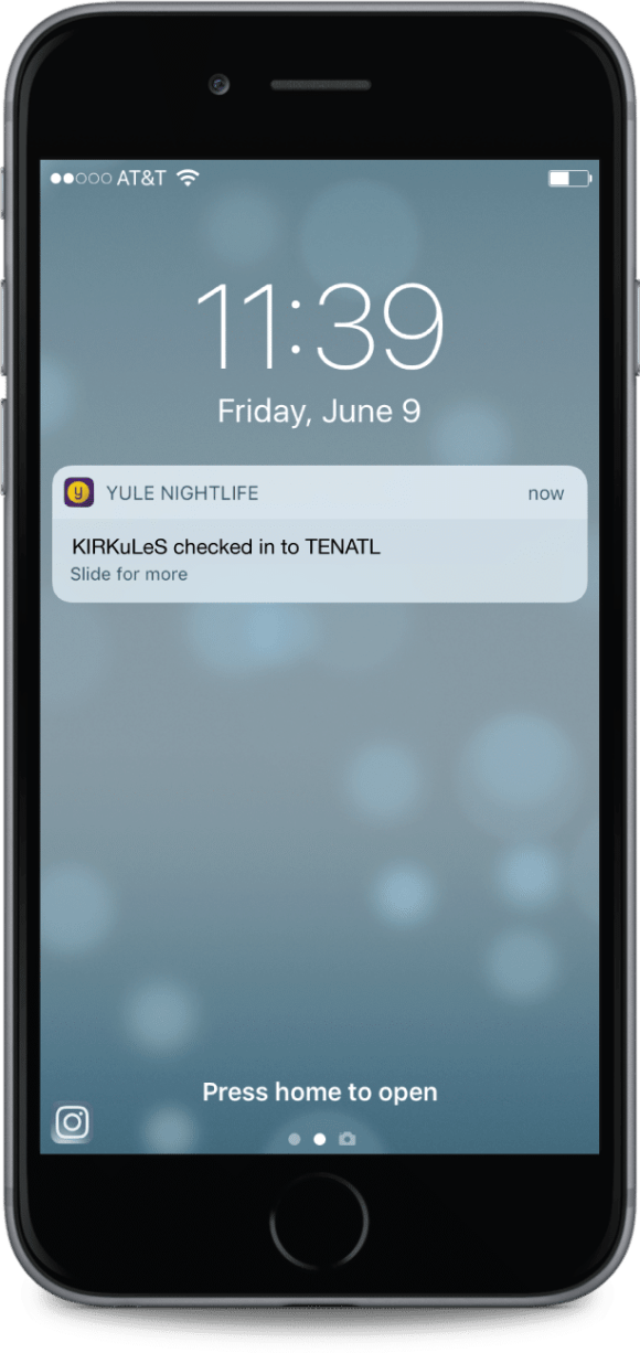 Yule Nightlife Check-in Notification