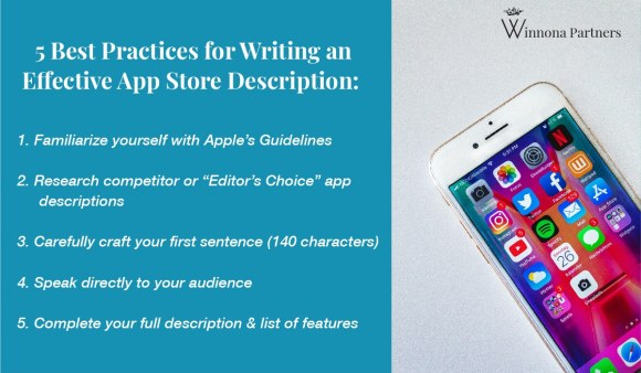 List of 5 Best Practices for How to Write an effective app store description. 1. Familiarize yourself with Apple's guidelines. 2. Research competitor app descriptions. 3. Carefully craft your first sentence. 4. Speak directly to your audience. 5. Complete your full description and list of features.