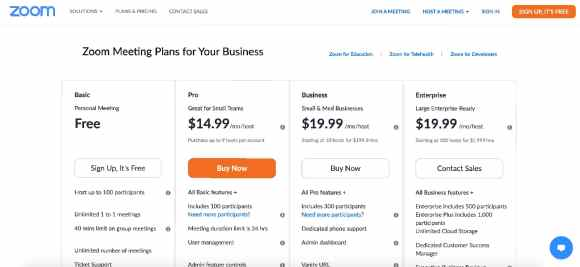 Zoom pricing plans 2020