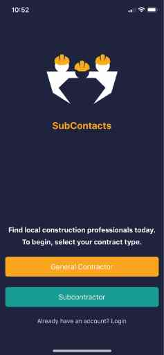 SubContacts app launch screen for iOS