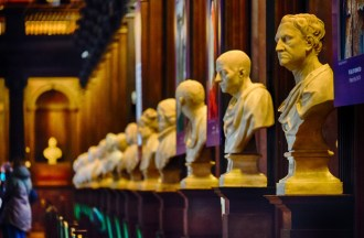 Busts in the reading room of Trinity College Library.