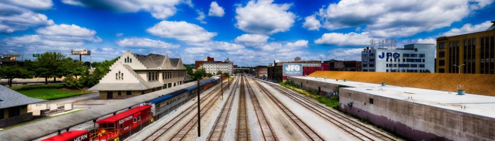Overlooking the rail yard just north of downtown, from the Gay Street bridge. 335 MP