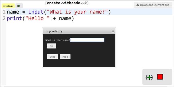 Write, run, debug and share python code with create.withcode.uk