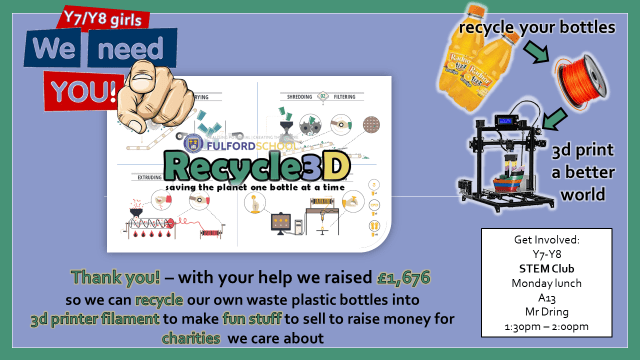 Recycle3D STEM Club poster