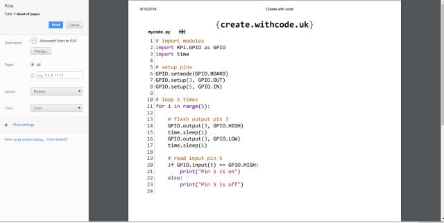 print python code online
