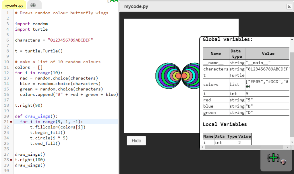 Debugging python code with breakpoints with create.withcode.uk