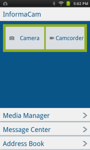 InformaCam main screen