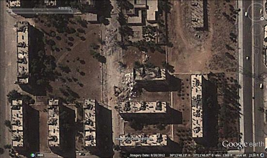 Image © 2013 Digital Globe - © Google Earth - lat 36.230042° lon 37.196381° - September  20, 2011