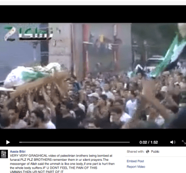 One example of a video from Syria shared on social media with a description as if it were from Gaza.