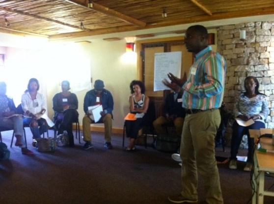Bukeni Waruzi, WITNESS' Senior Program Manager for Africa and the Middle East addresses the training participants. Photo: Sara Federlein