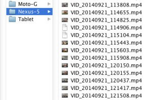 Video files from Nexus 5 phone copied over to remote WiFi drive by SyncMe app