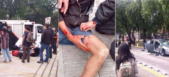 Policía de Investigación lesiona de bala a supuesto estudiante en la UNAM (Fotos: Twitter)
