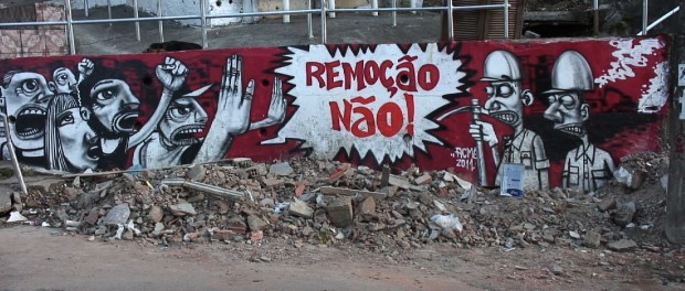 Graffiti protesting mega-events and forced evictions. Photo courtesy of Jason O'Hara.