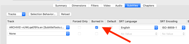"Location of the ""burn in"" checkbox in Handbrake"