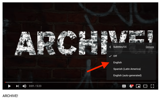 Location of YouTube subtitle menu for a video