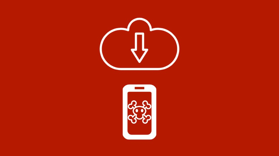 Graphic of cloud and phone with crossbones