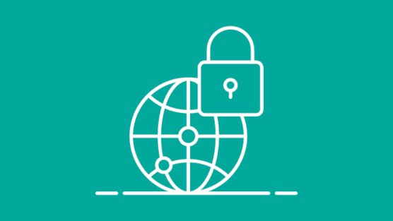 Graphic of globe and lock