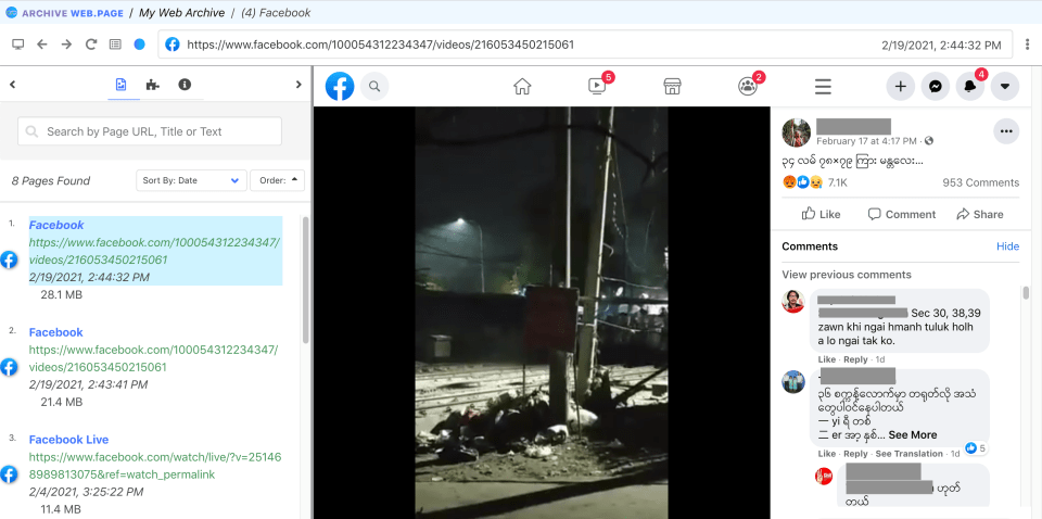 Screenshot of webrecorder replayweb page displaying a Facebook livestream from Myanmar