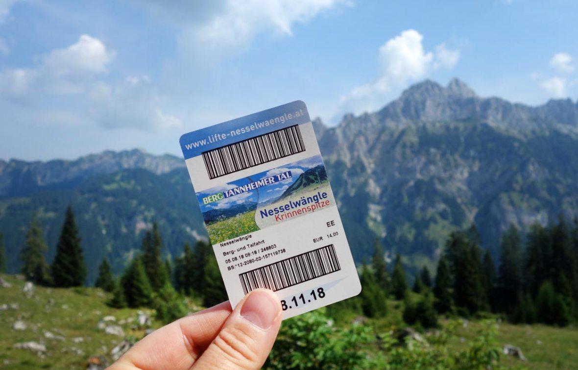Liftkarte Nesselwängle Krinnenspitze