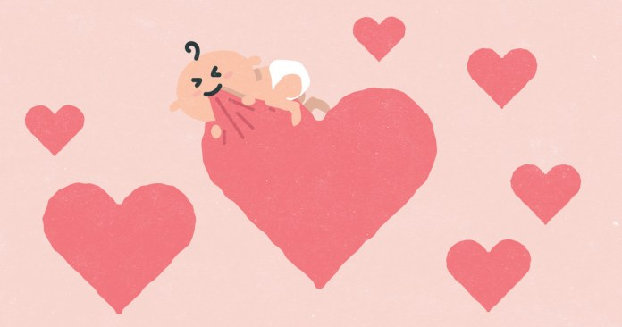 a cartoon of a baby gnawing at a heart