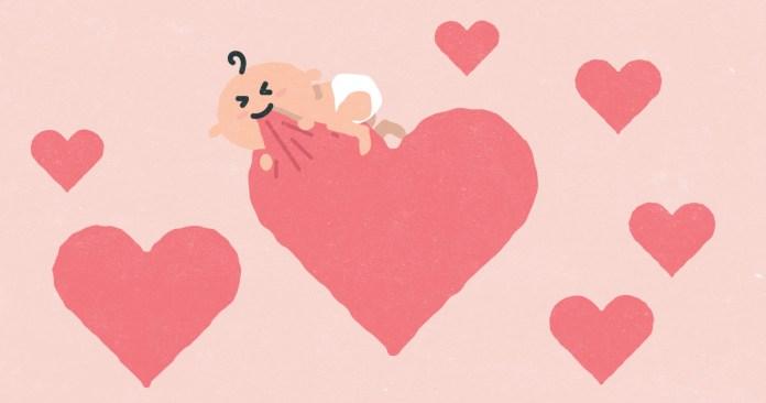 eine Karikatur eines Babys, das an einem Herzen nagt