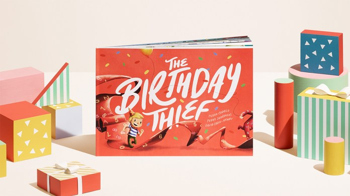the birthday thief book, a kids personalised birthday gift.