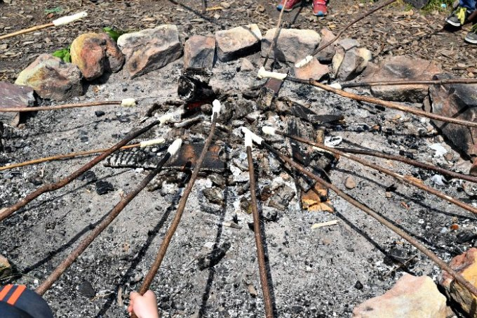 Cooking stick bread around a campfire in forest school