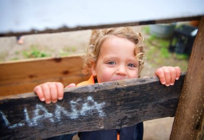 Early education program types: child looking over fence