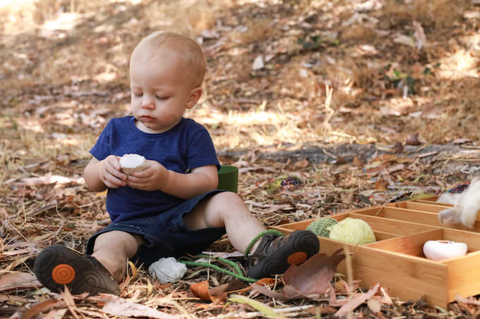 Boy playing outside at Northeast LA Forest School