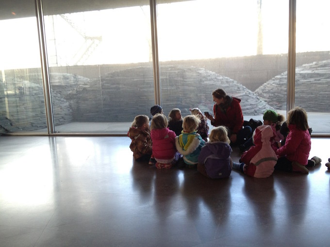 Preschool children looking at abstract art