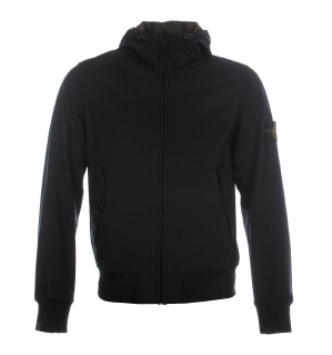 Stone Island Light Soft Shell-R Black Hooded Jacket
